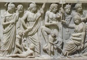 Détail d'un sarcophage romain représentant la création de l'Homme par Prométhée et les différentes âges de la vie, vers 240 après J.-C (Musée du Louvre MA 339).
